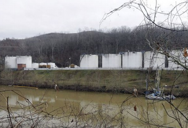 Freedom Industries Storage Facility on the Elk River. Photo by AP.