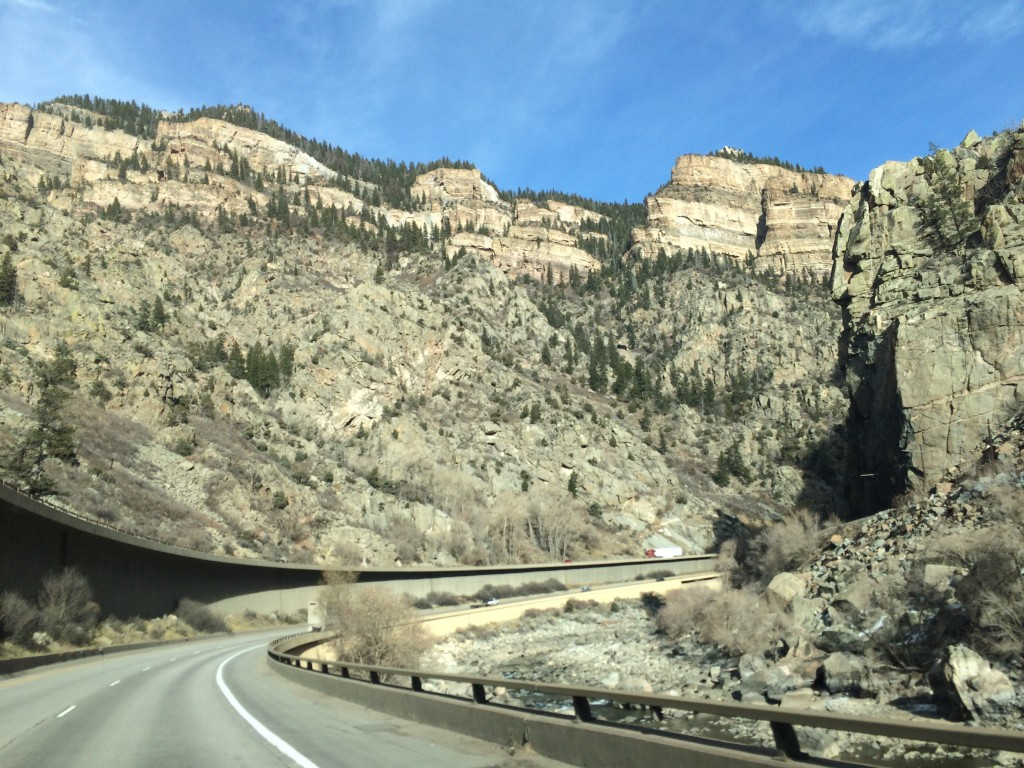 Great view of the road winding through 1,000+ ft canyon walls.