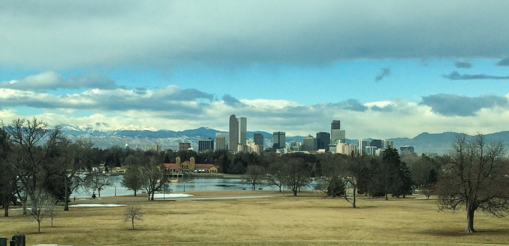 View of Denver and Rocky Mountains from the DMNS.