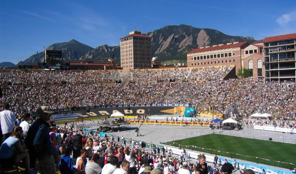 The Bolder Boulder finishes inside Folsom Field.