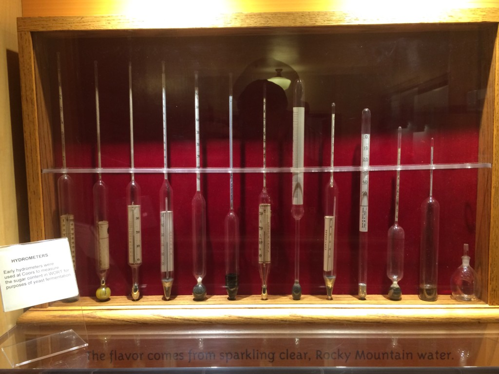Old school hydrometers used to measure the sugar content in wort for yeast production.