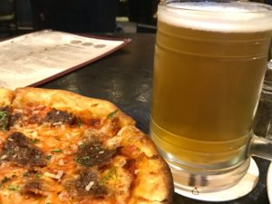 Mad Mile Cream Ale and bison pepperoni pizza at Bridger Brewing